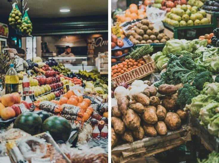 Vegetable stalls in Mercado de San Telmo