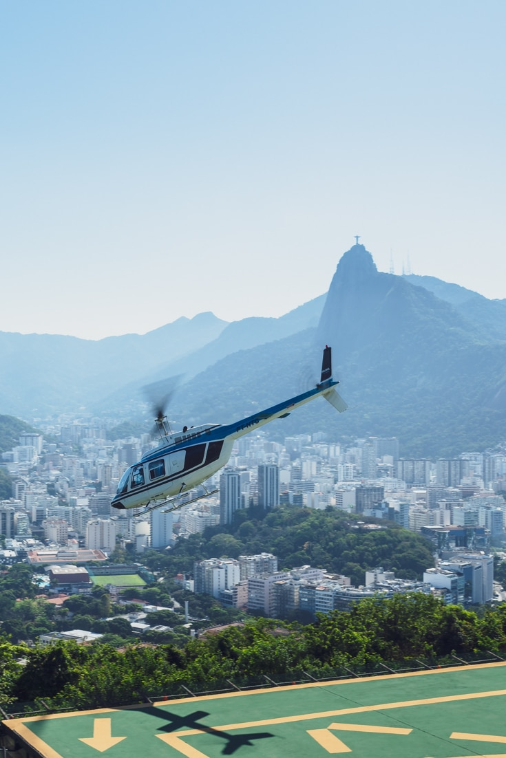 Visiting Christ the Redeemer by helicopter