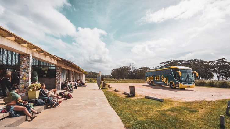 The bus dropping of passengers at Cabo Polonio visitors centre