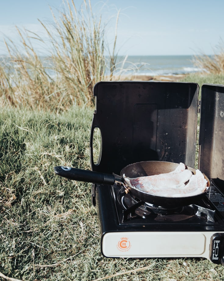 cooking outdoors by the ocean