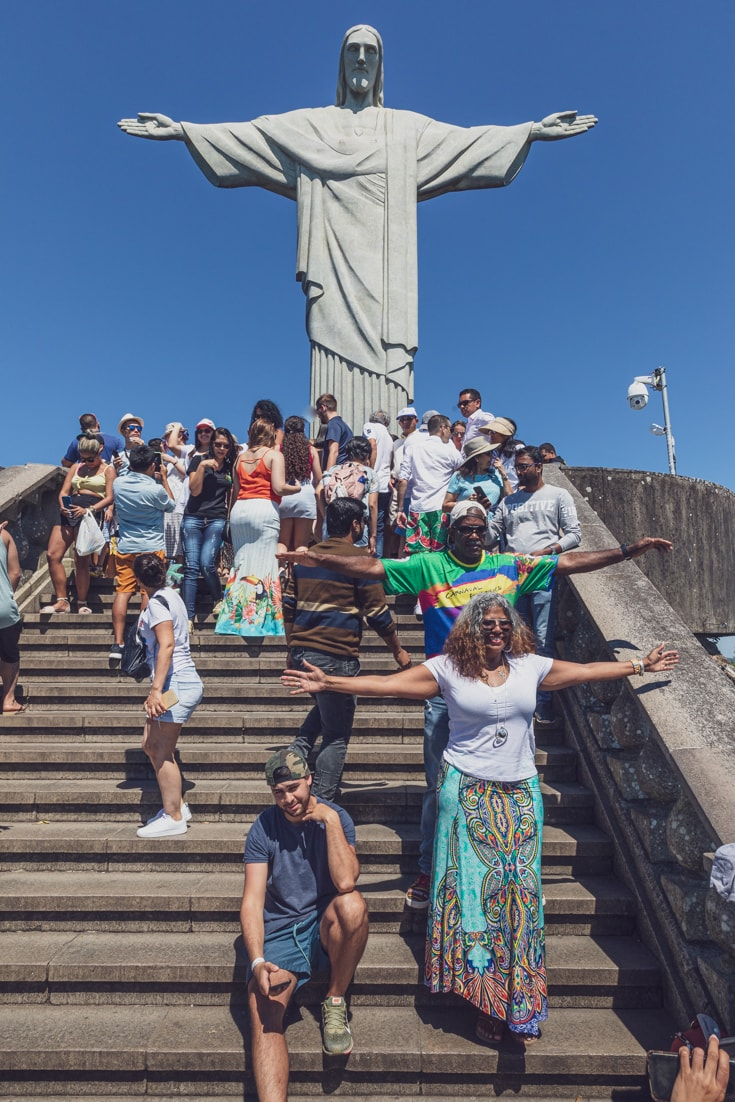 taking selfies at theJesus statue in Rio