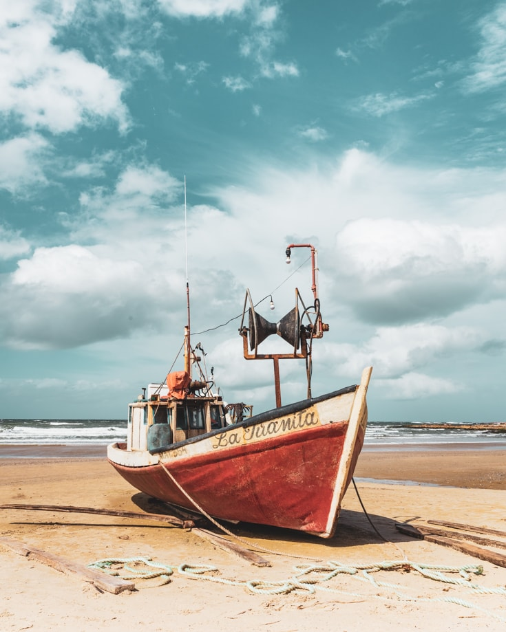 A fishing boat on the beach at Cabo Polonia, Uruguay
