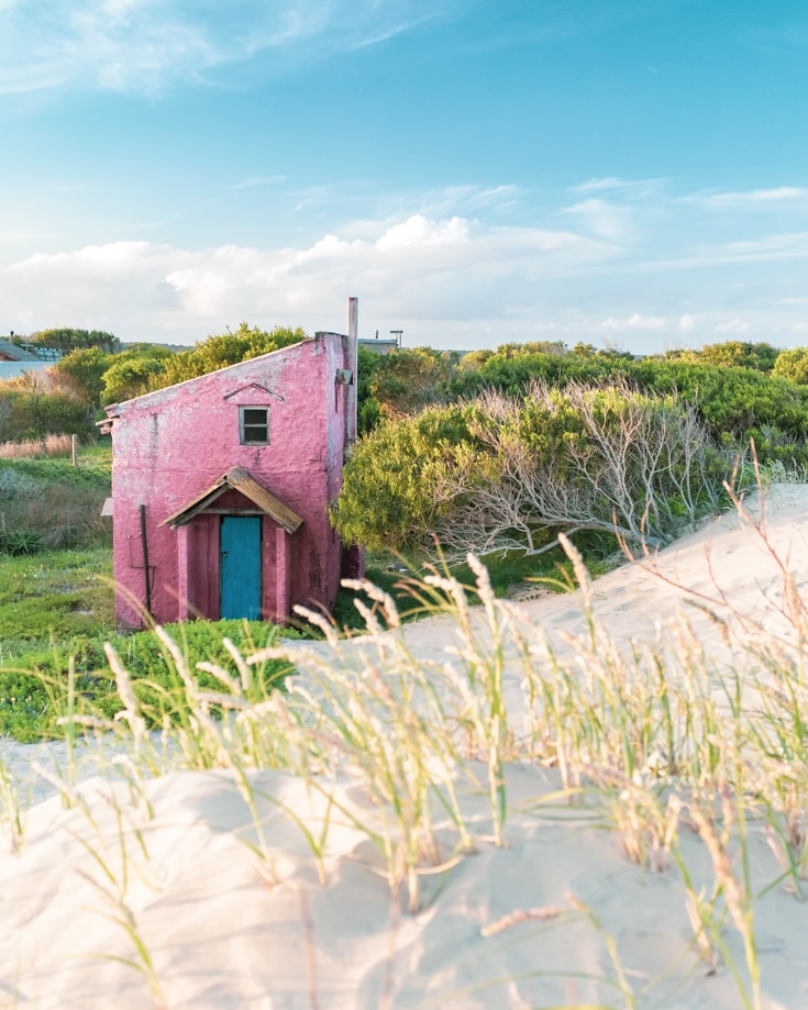 A tiny red house house in the sand dunes in Spring time in Uruguay