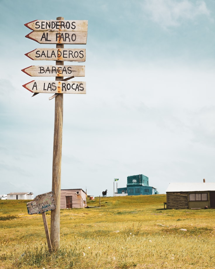 A wooden street sign in Cabo Polonio