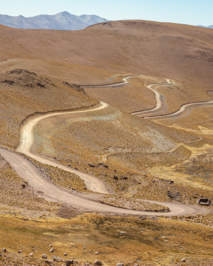 A view of the hairpin bends of Abra del Acay in the high Andes