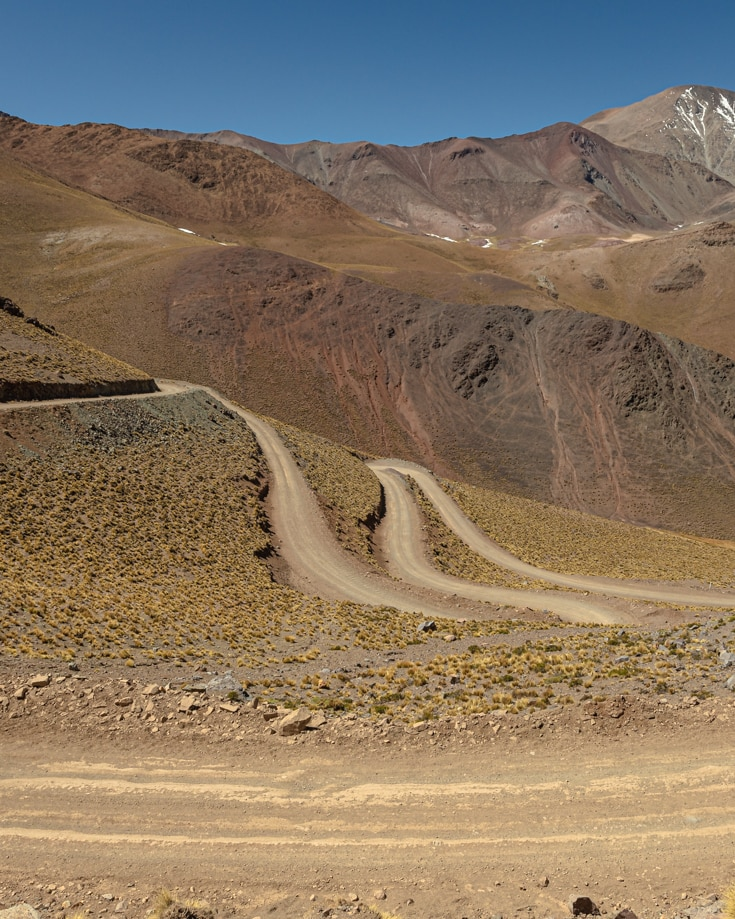 hairpin bends and high mountain peaks with a sprinkling of snow in Argentina, Ruta 40