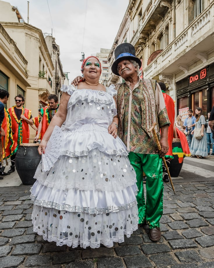 Candombe characters in costumes
