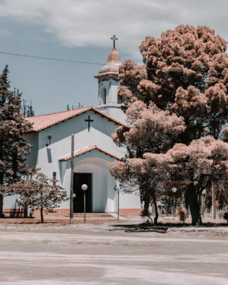 Church at El Nihuil surrounded by trees