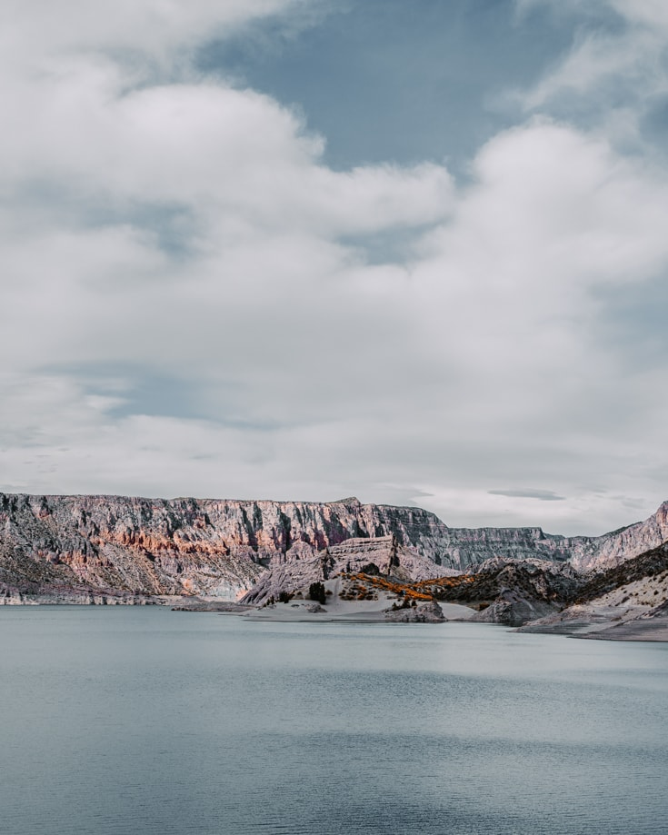 Cloudy sky over the reservoir at Atuel River Canyon