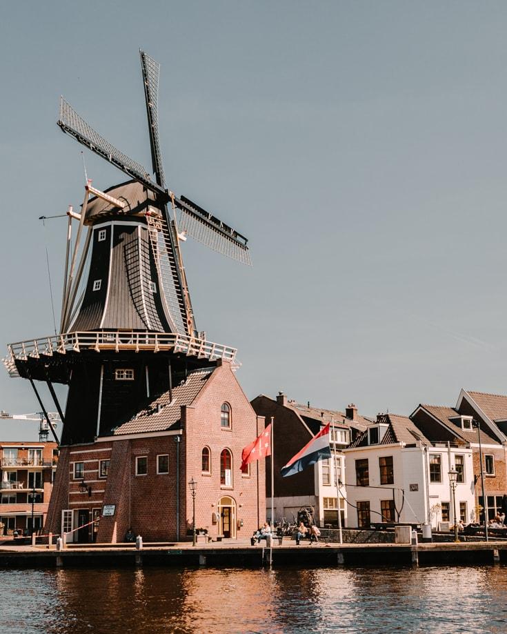 The famous De Adriaan windmill (Molen) in Haarlem Netherlands