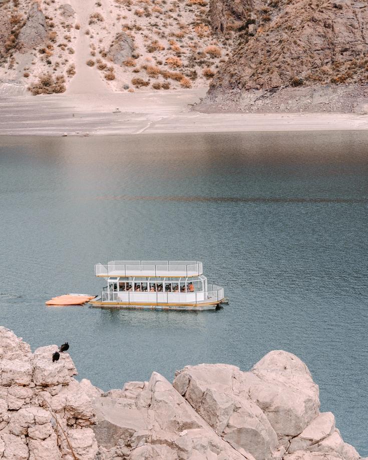 Ferry on the reservoir near Dique Valle Grande Mendoza