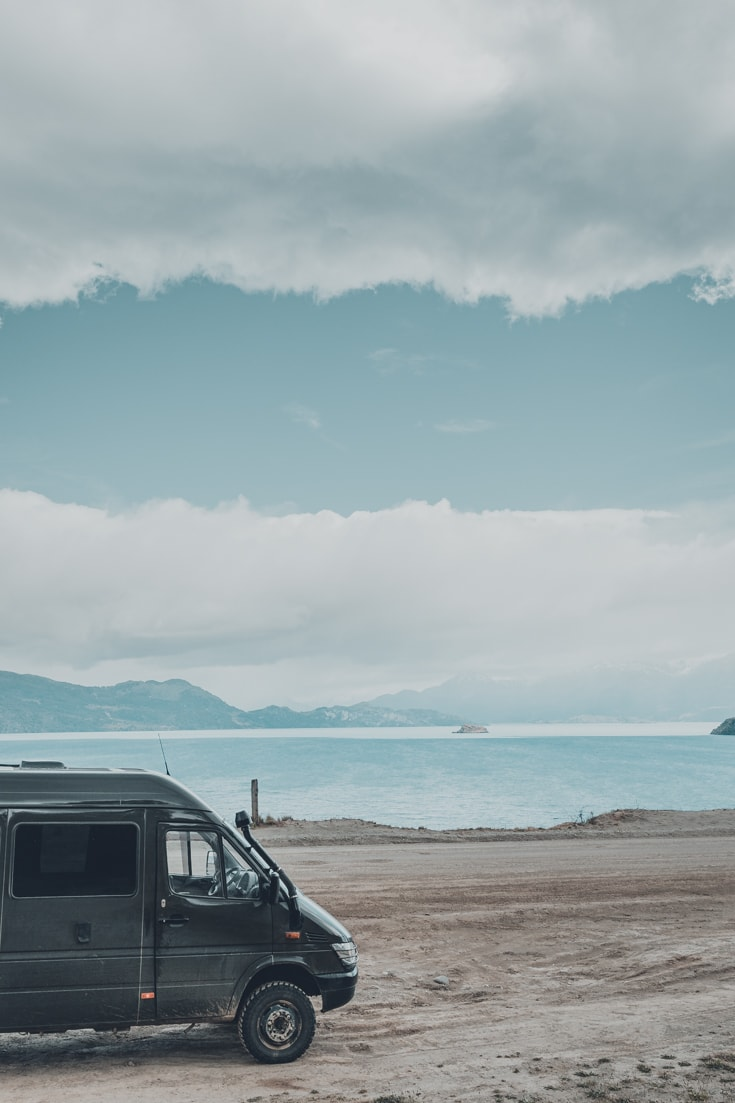 A camper van parked for the night beside Lago General Carrera