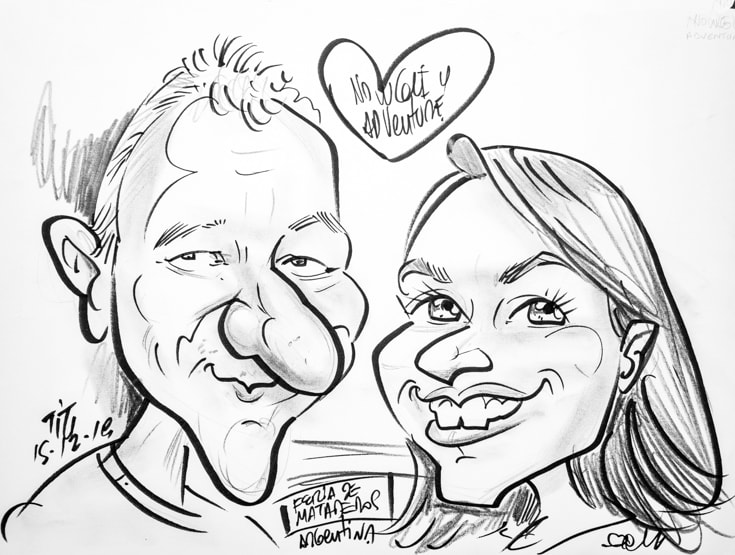 caricature of Angela and Graham of Mowgli Adventures by Titi