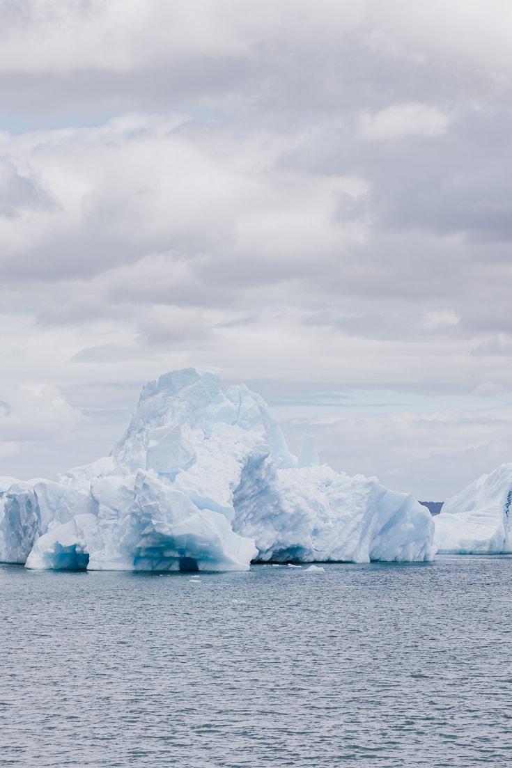 A huge iceberg floating in the San Rafael lagoon