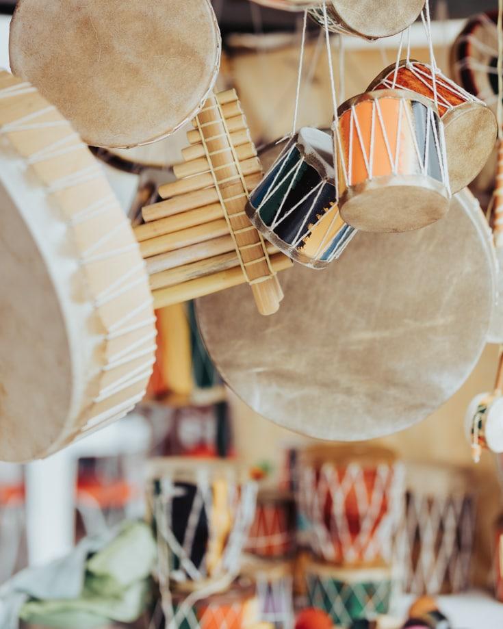 musical percussion instruments for sale at Feria de Mataderos