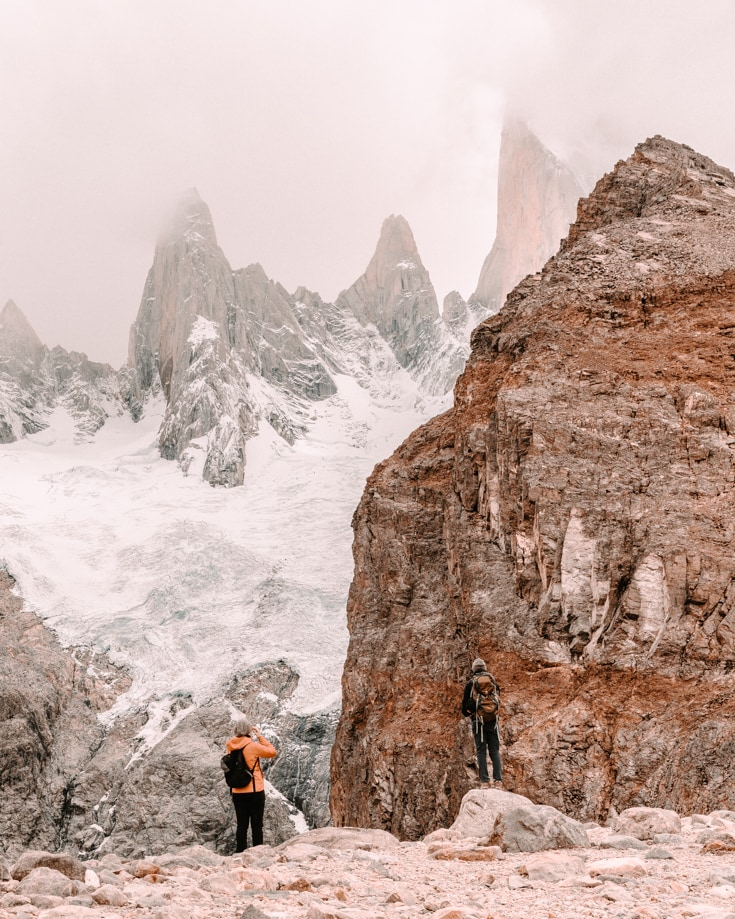 people climbing the Fitz Roy Massif in Southern Patagonia