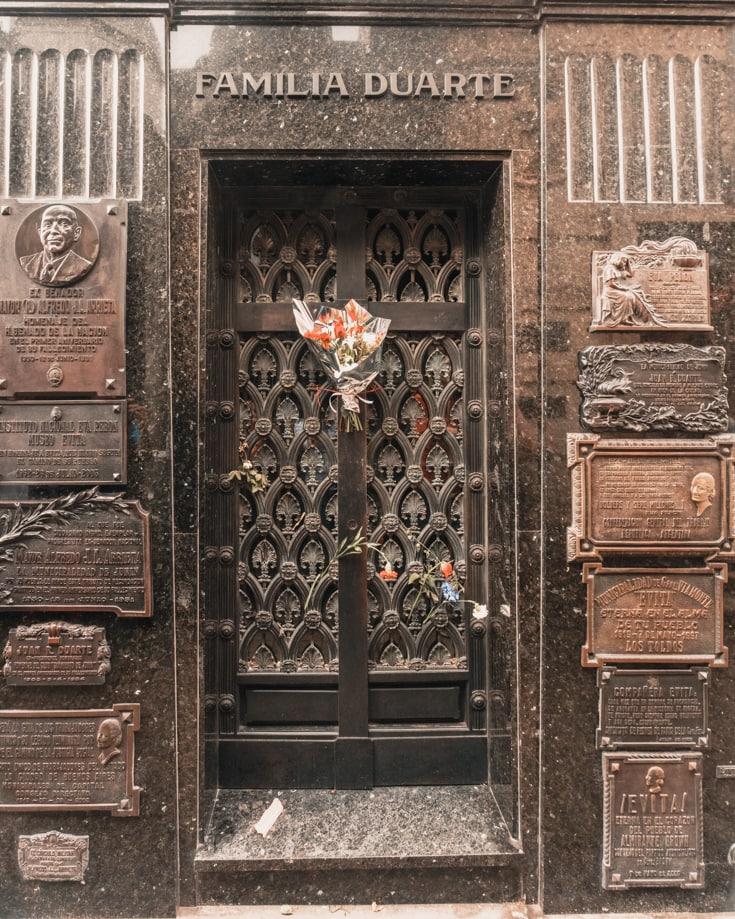 Eva Evita Peron grave in Recoleta Cemetery Buenos Aires Argentina
