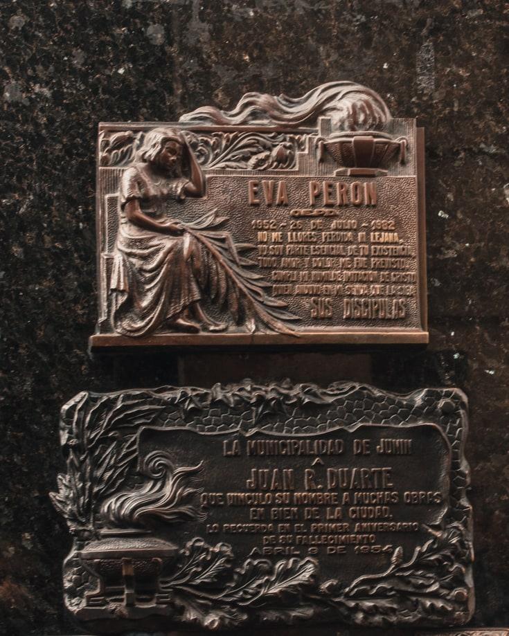 Eva Peron headstone in Recoleta Cemetery Buenos Aires Argentina