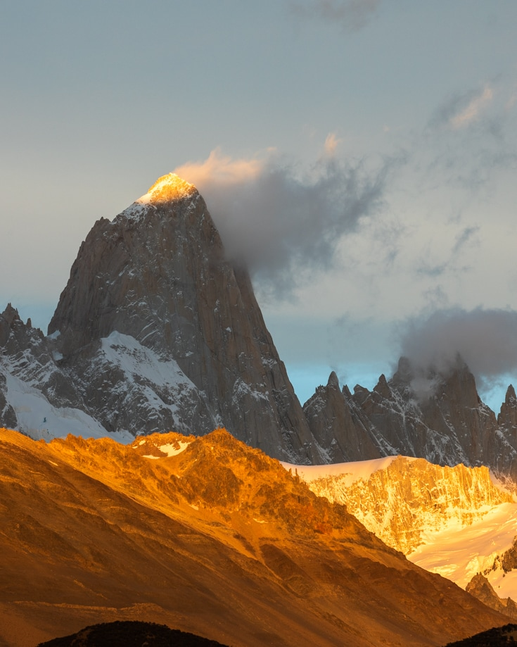 The alpine light hitting the summit of Mount Fitz Roy in Patagonia