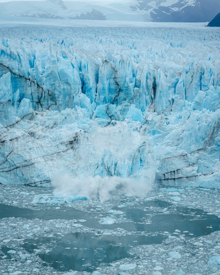 Large ice blocks falling from Perito Moreno Glacier