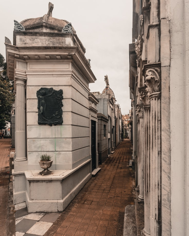 Tombs lining the The narrow alleyways in Recoleta Cemetery