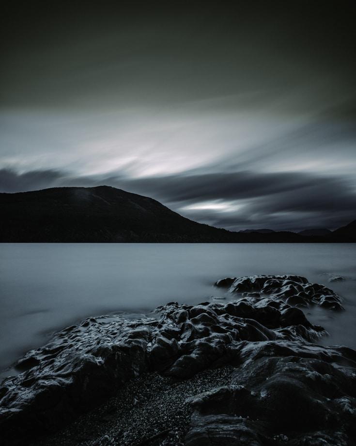 Dark night over lake pic