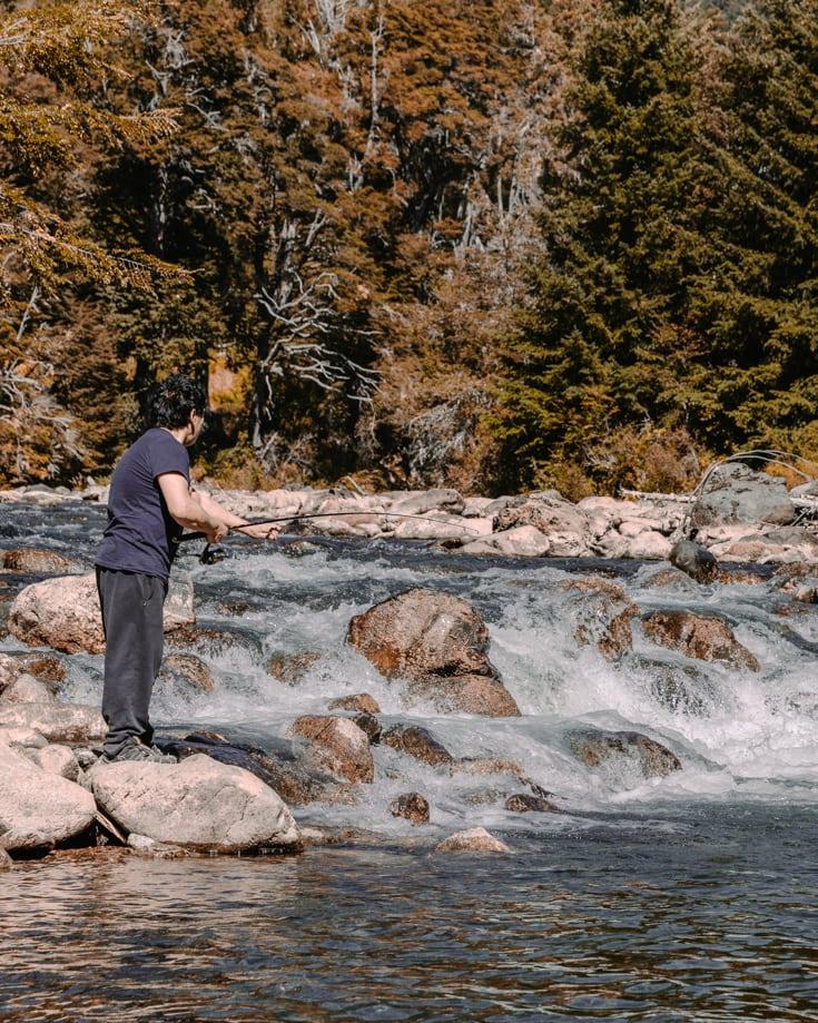 Fishing in the river near San Martin de los Andes