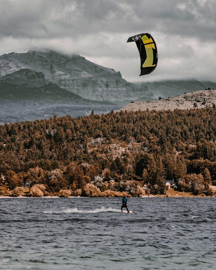 Kitesurfing on Lago Lolog, Argentina