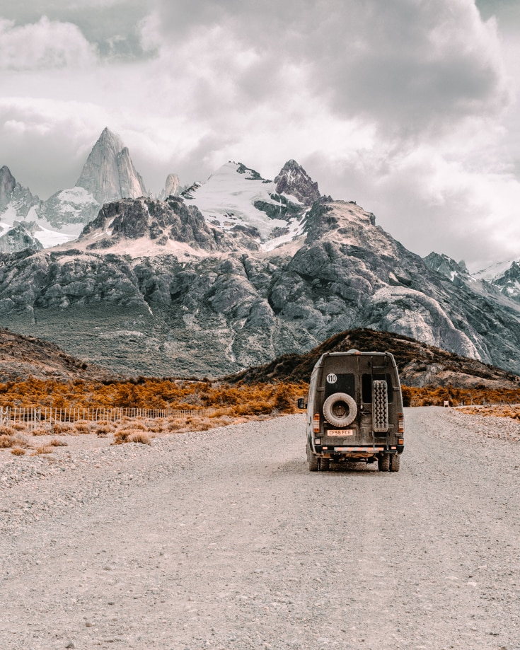 A camper van driving near Fitz Roy in Argentina