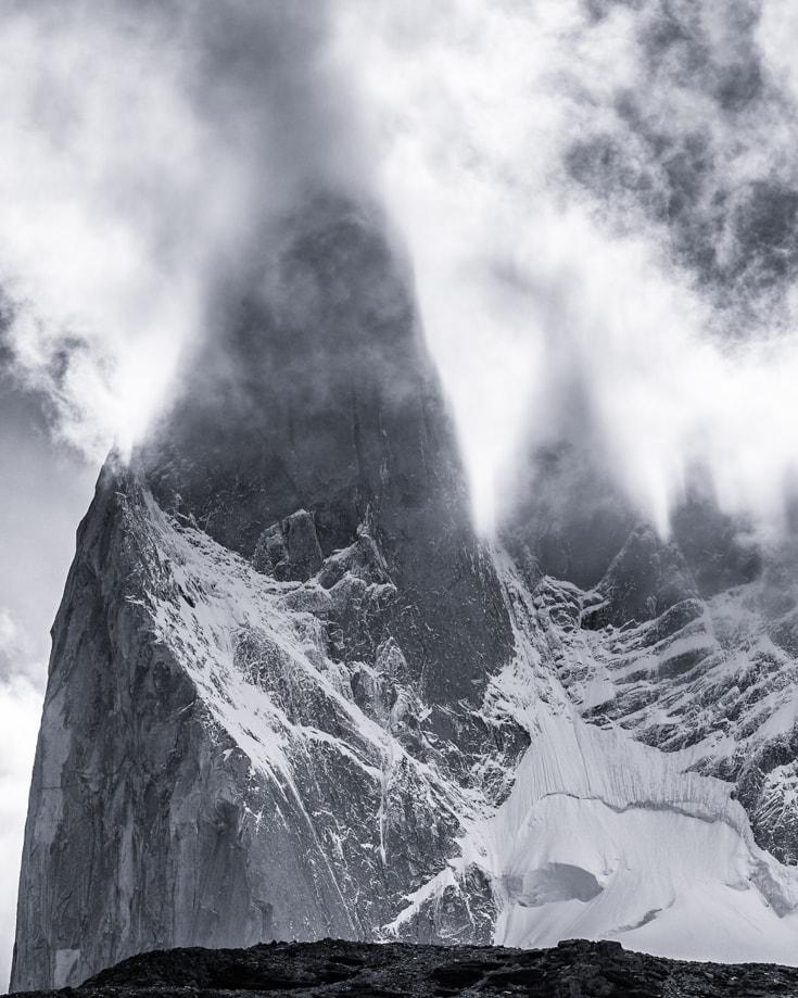 Mountain peaks shrouded in mist in El Chalten Patagonia