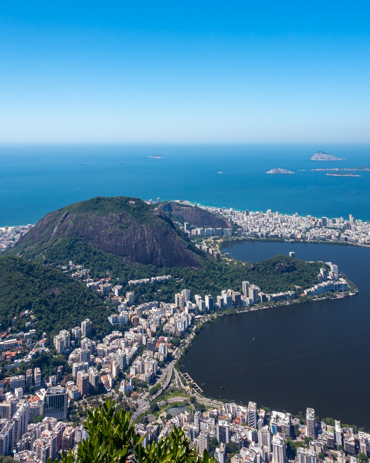 Panoramic views over rio de janeiro from Christ the redeemer statue