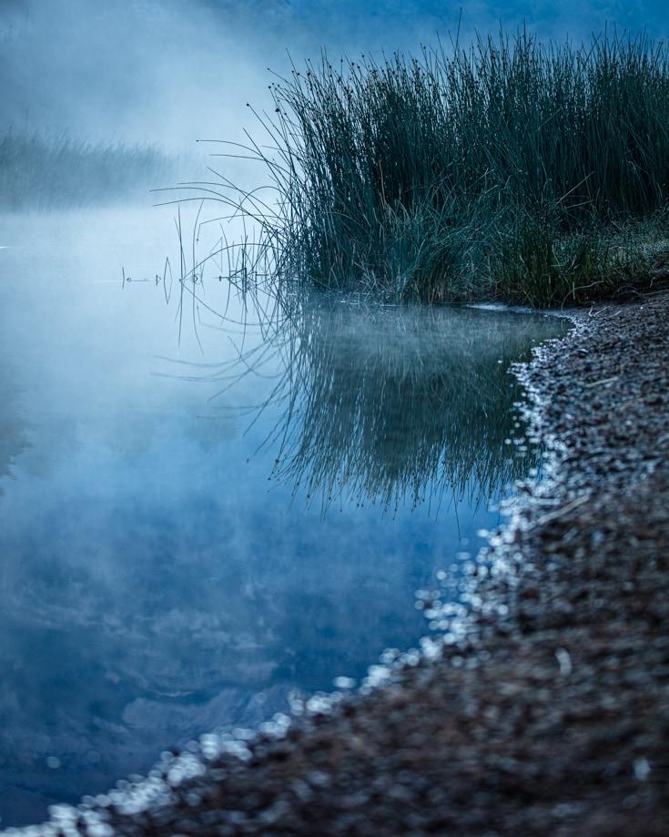 Mist rising from lake Villarino