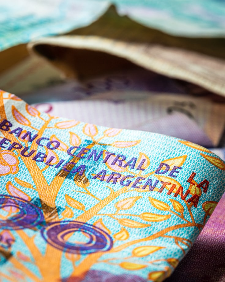 Close up of detail on an Argentinian 100 peso bank note