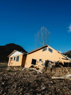 Landslide in Villa Santa Lucia surrounded by snow capped mountains