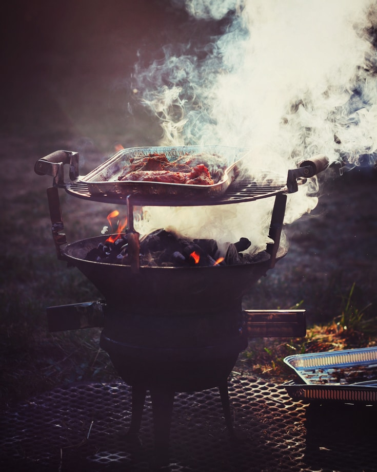 meat cooking on a camp fire grill