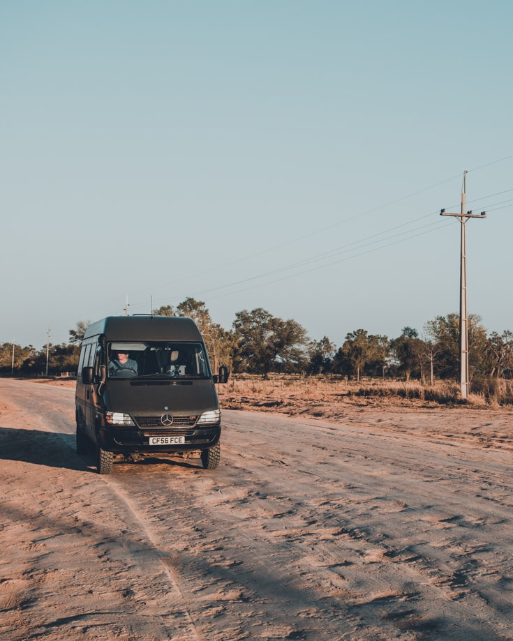 A camper van conversion used to drive through Paraguay's Chaco region