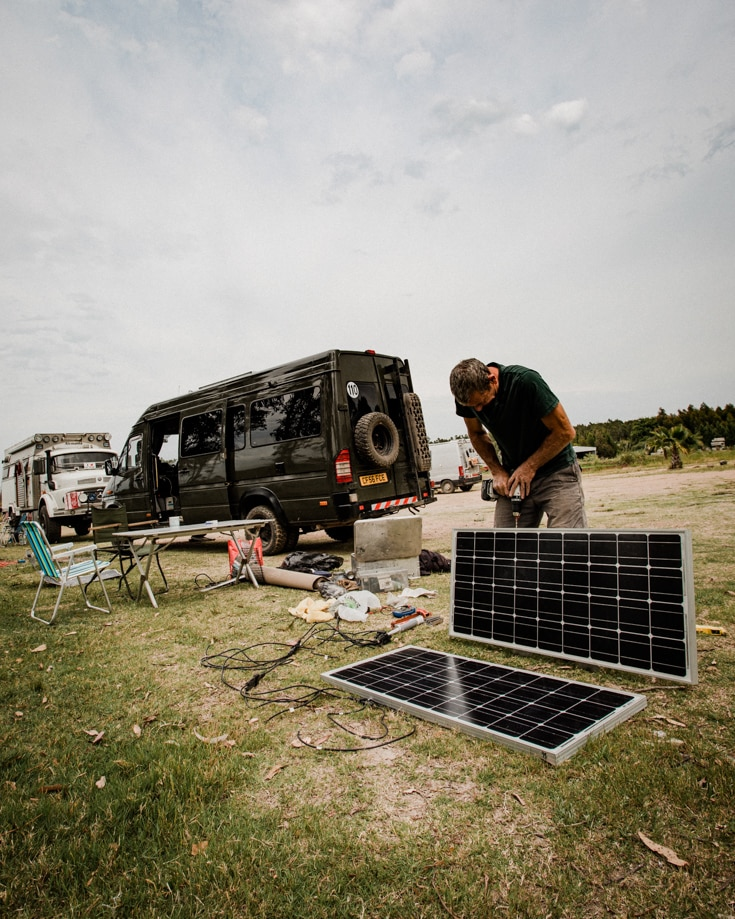 Adding solar panels to a DIY camper van conversion
