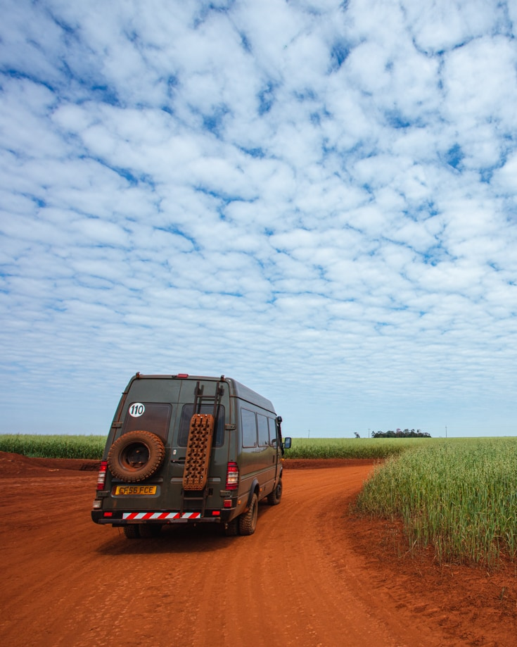 A camper van travelling in remote areas of South America