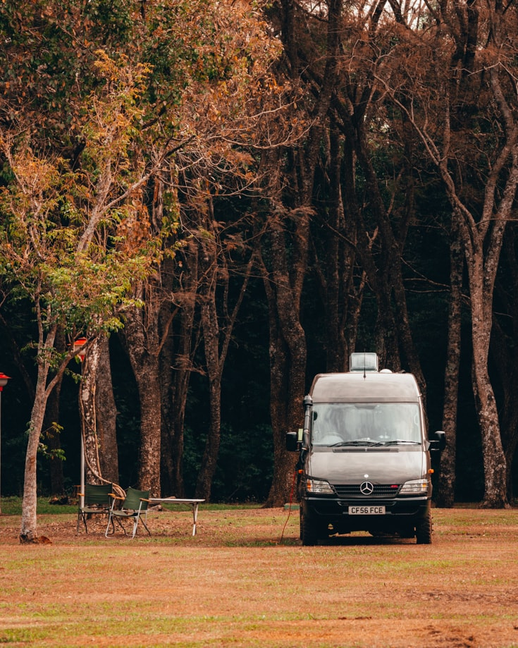 Off grid living in a forest in a camper van