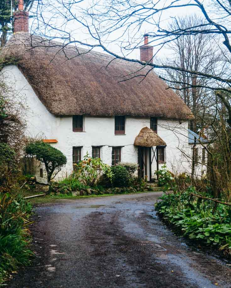 Thatched cottage along a wet track