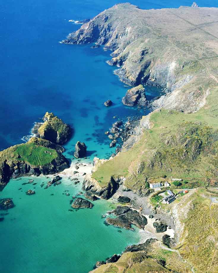 An aerial view of Kynance Cove