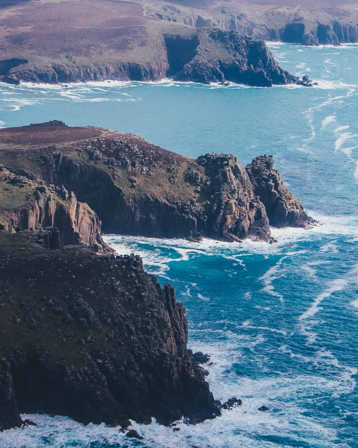 Aerial view of Land's End cliffs in Cornwall