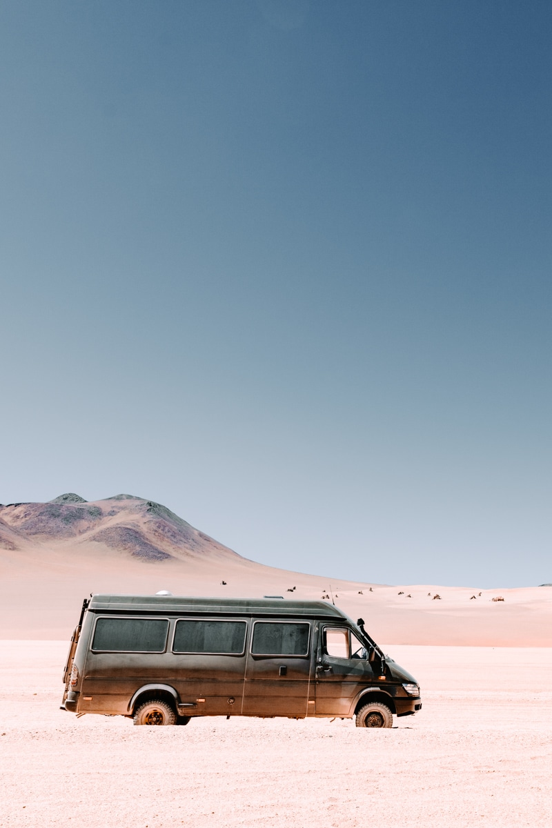 4x4 Sprinter van conversion driving in the Dali desert of Bolivia