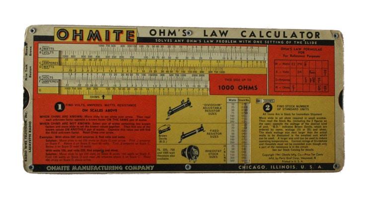 Old fashioned Ohm's law calculator