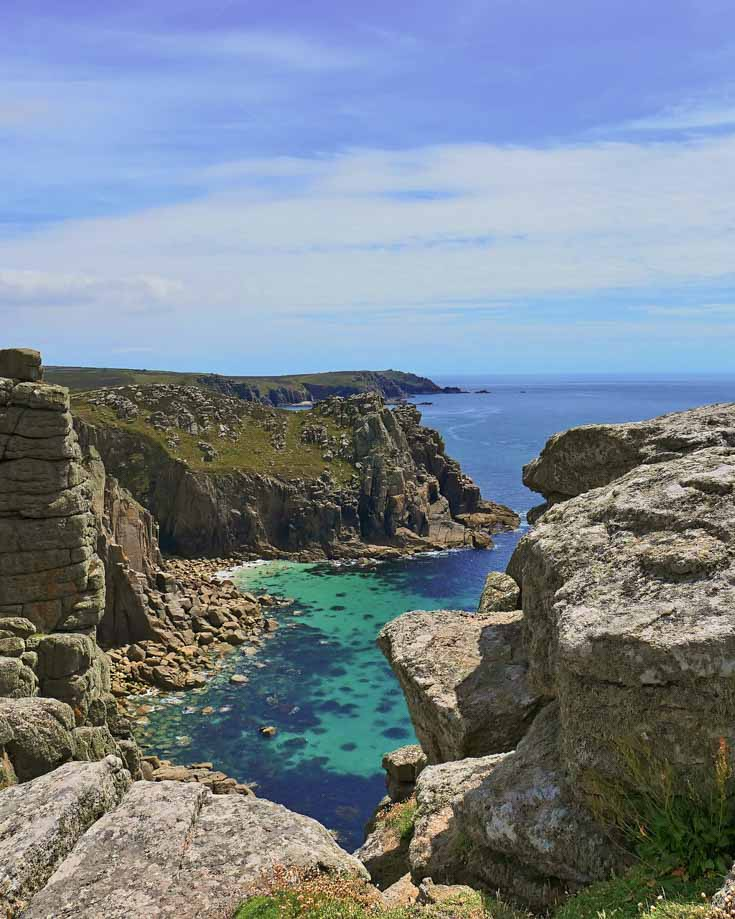 Coastal views along the south west coastal path in Cornwall