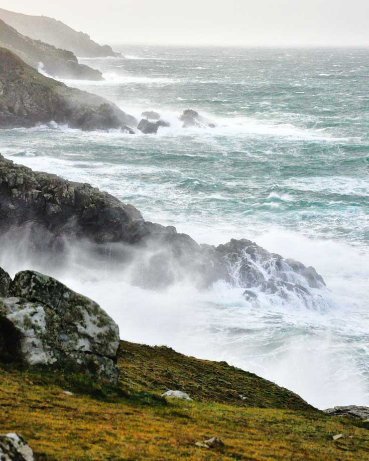 Rough seas crashing into the Cornish cliffs