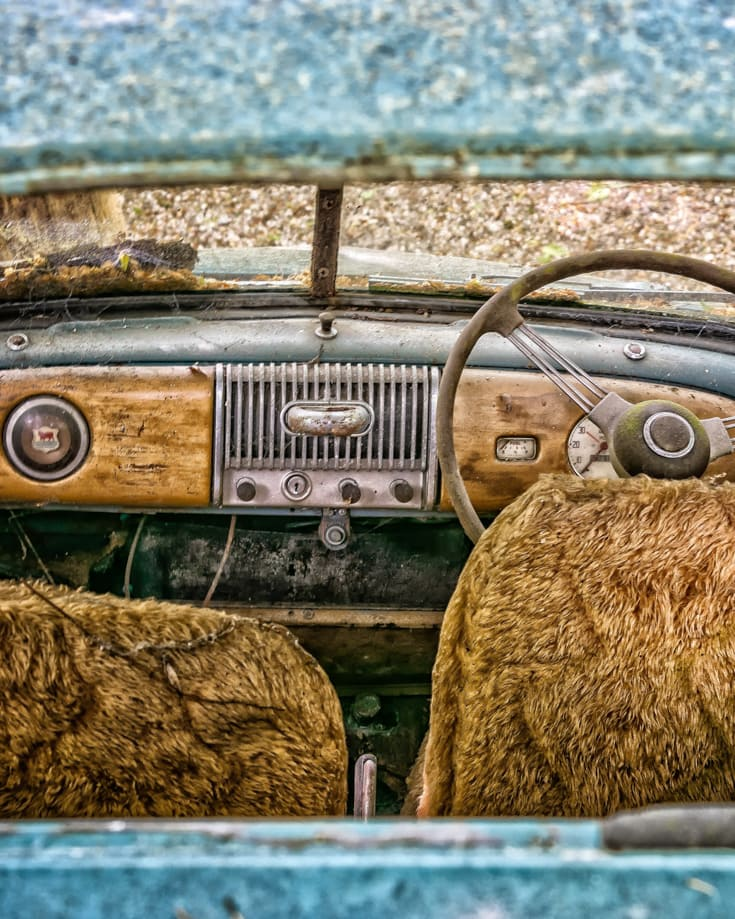 The interior of an old vehicle
