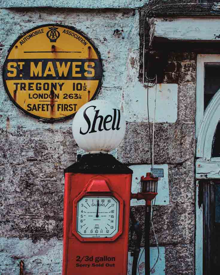 Traditional petrol pump at St Mawes Cornwall