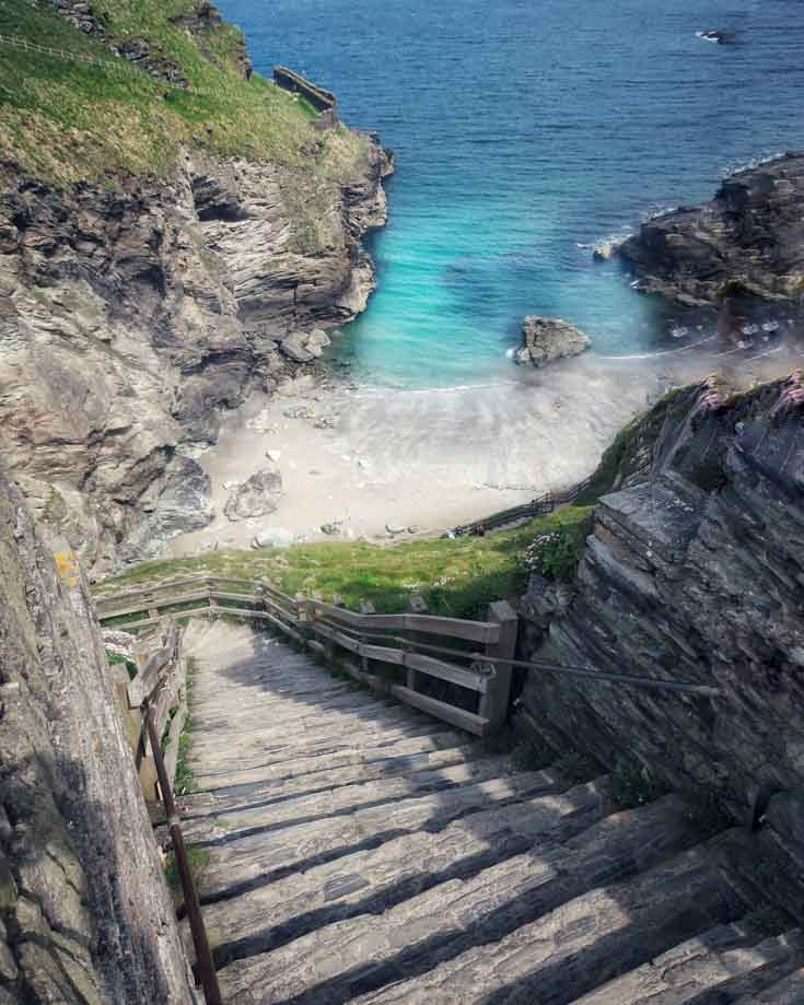 Steps to Merlins cave at Tintagel Cornwall