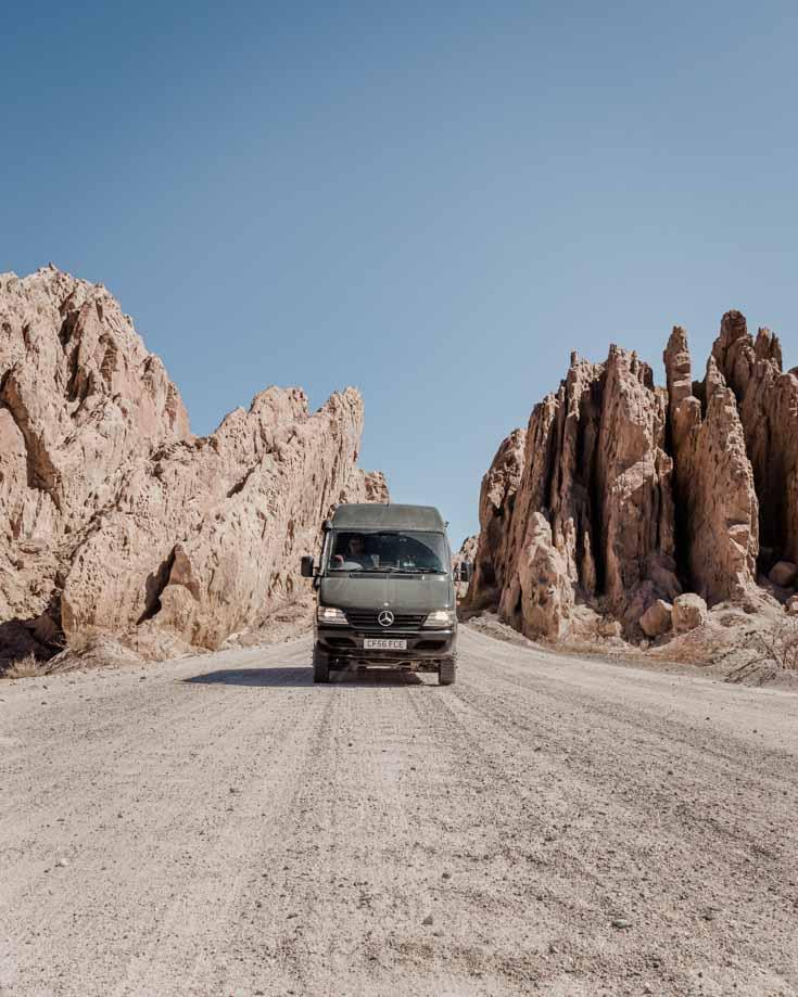 Mercedes Sprinter 4x4 camper van driving Ruta 40 in Argentina
